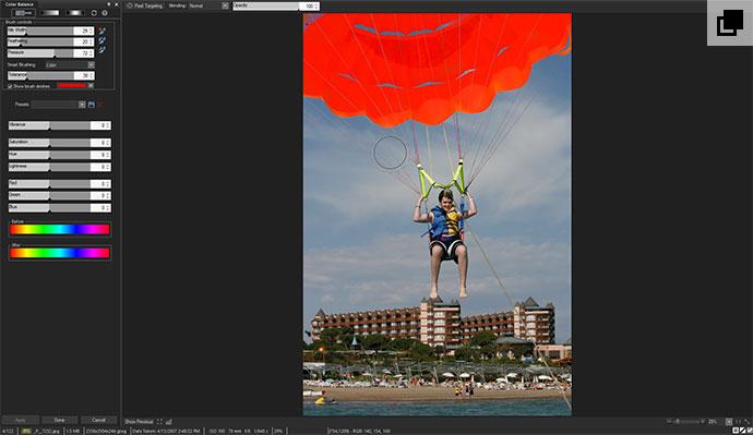Parachute using color brushing