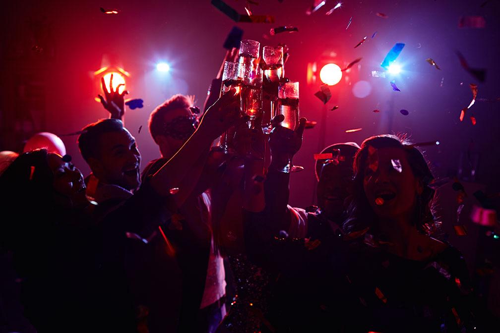 People celebrating New Year's Eve