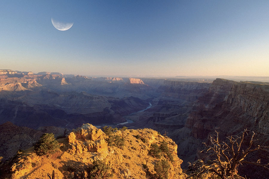 Sunset with moon in Grand Canyon