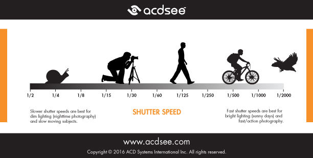 Photography cheat sheet - shutter speed