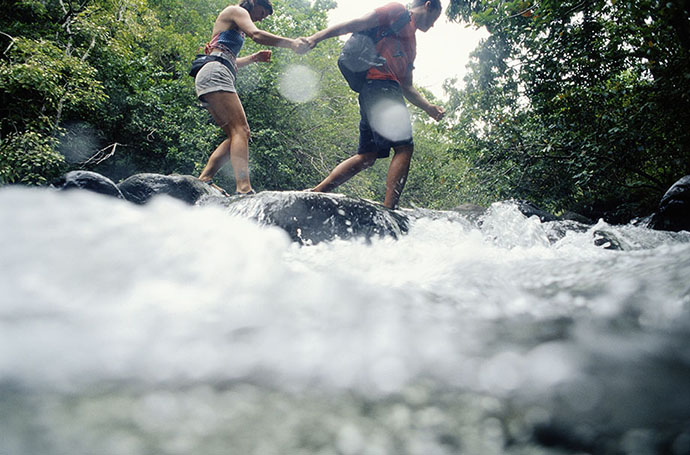 couple in river candid photography